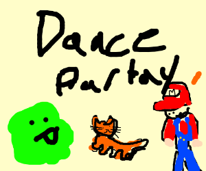 green thing dances with cat and Mario