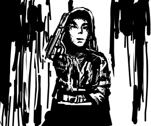 Black-white woman with silenced gun and jacket