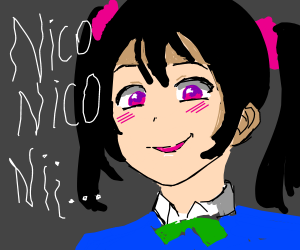 anime girl looks creepy + says nico nico niin