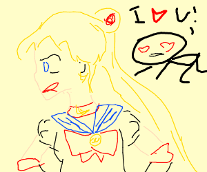 sailor moon ignores her fan in the background