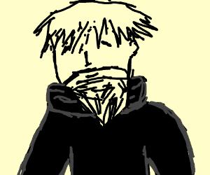 Bearded man in a black turtleneck