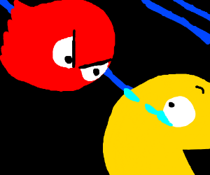 red ghost chases pacman