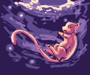 Mew in a purply glowy space
