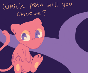 Mew in front of a road