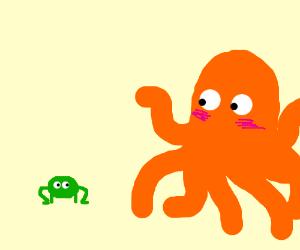 Giant orange octopus  blushing at tiny frog