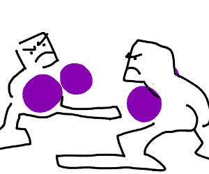 Two Guys Boxing With Purple Gloves & Huge Feet