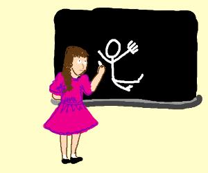 Eerie girl drawing on chalkboard.