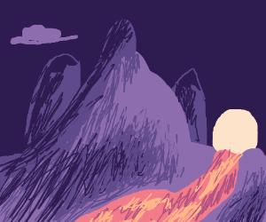 Purple and lavender mountain range