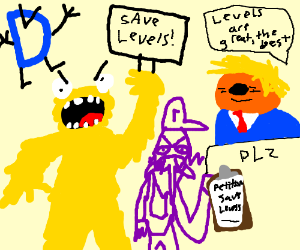 Drawception memes in picket line toSave Levels