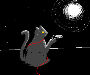 Cat with a pistol and red wire under moonlight