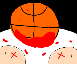 People dying in front of big basketball