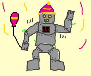 robot at a party