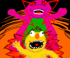 Barney zaps Yellmo with laser eyes