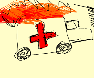 ambulance on fire