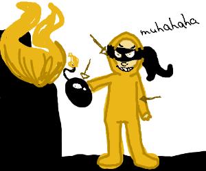 A yellow ninja terrorist with a bomb