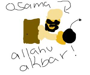Bin Laden in a door opening.