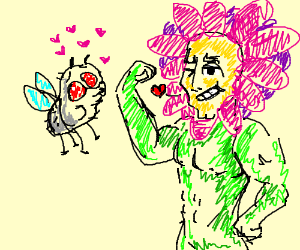 Personified plant seducing fly