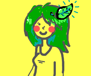 A green-haired girl with a leaf in her hair.