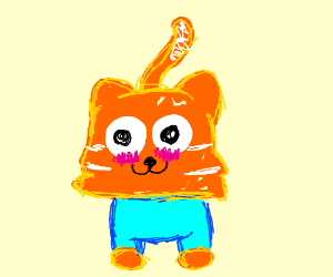 Blushing cat wearing cyan shirt