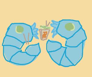 Shrimp eating noodles