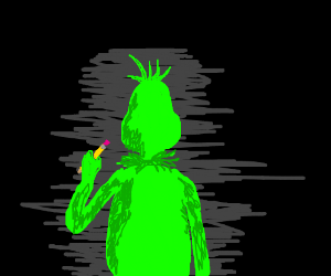 the grinch holding a pencil in a cave