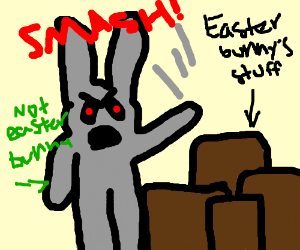 jealous bunny smashes the easter bunny's stuff
