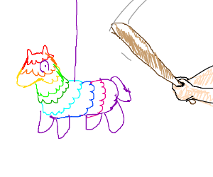 A rainbow pinata being whipped with a bat