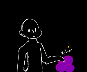 black humanoid touches the purple goop