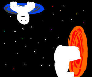A guy going trough portals in space.