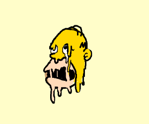 Homer Simpson's face is melting off