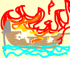 step 3: light rest of boat on fire