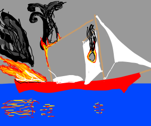 a beautiful boat burning in water