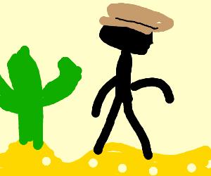 Cowboy stick figure walking in a desert