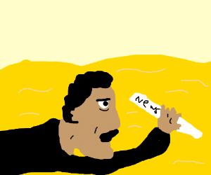 Black newsboy stranded in the desert