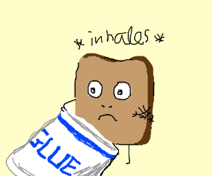 piece of bread inhaling a bottle of glue