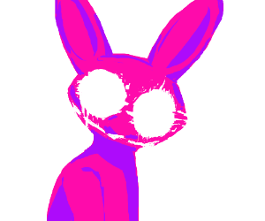 A pink rabbit stares into your soul.