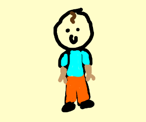 person w brown hair, pink shirt orange trouser