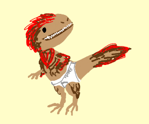 t rex wearing underwear