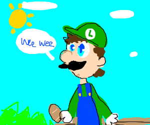 Luigi w/ bread on a bench says wee wee