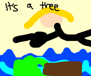 Lady finds a tree in the ocean