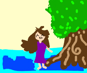 girl dancing on a blue floor next to a tree?