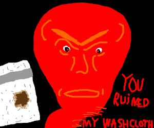 Man is extremely upset his washcloth is ruined