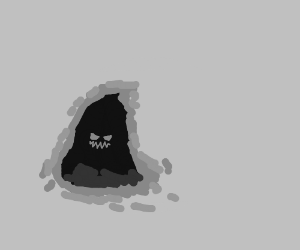 Spooky face in a dark cave