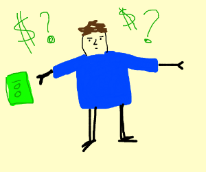 Blue-shirt-man with $100 asking about the $100