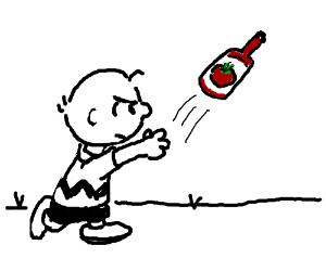 Angry Peanuts Character Throws Ketchup