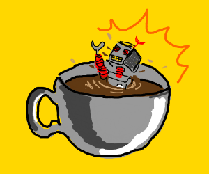 Robot drowns in a coffee cup