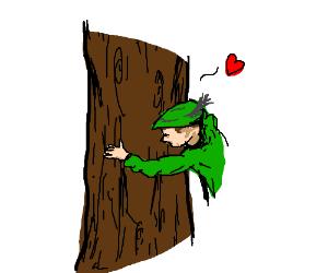 robin hood hugs tree