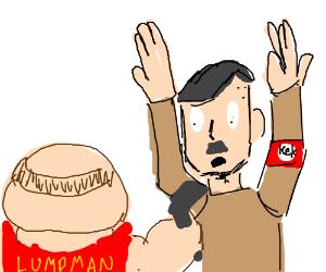 Superhero Lumpman holds a gun at Hitler's face