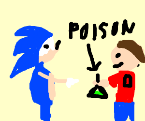 kid with one arm gives poison to sonic
