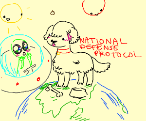 Dog standing on a planet